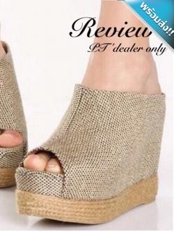 รองเท้าส้นเตารีดสีเบจ ผ้าเชือกป่าน โชว์นิ้วเท้า แบบหุ้มส้น แนววินเทจ แฟชั่นเกาหลี แฟชั่นพร้อมส่ง