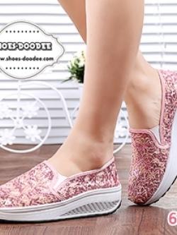 รองเท้าผ้าใบเสริมส้นสีชมพู สไตล์เกาหลี รุ่นฮิตขายดี วัสดุผ้าตาข่ายซีทรูลูกไม้ แฟชั่นเกาหลี แฟชั่นพร้อมส่ง