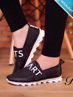รองเท้าผ้าใบผู้หญิงสีดำ พื้นเป็นร่อง โลโกtrats ประดับกากเพชร ทรงทันสมัย สวมใส่สบาย แฟชั่นเกาหลี แฟชั่นพร้อมส่ง
