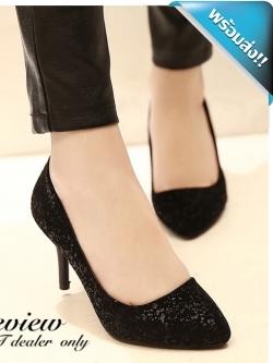 รองเท้าคัทชูส้นเข็มสีดำ ประดับกากเพชร เรียบหรูดูดี ทรงสุภาพ แฟชั่นเกาหลี