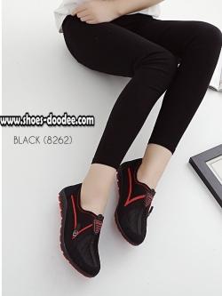 รองเท้าผ้าใบสีดำ รองเท้าเพื่อสุขภาพ ที่เห็นแล้วต้องเลิฟ พื้นยางอย่างดี สวมใส่ง่าย เดินนุ่มสบาย