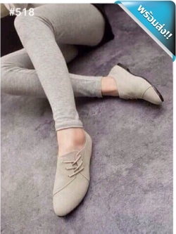 รองเท้าผ้าใบผู้หญิงสีครีม หัวแหลม หนังสักราด แบบเชือกผูก ส้นแบน แฟชั่นเกาหลี แฟชั่นพร้อมส่ง