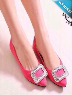 รองเท้าคัทชูผู้หญิงสีชมพู ส้นแบน หัวแหลม หัวแต่งเพชรสี่เหลี่ยม เรียบหรู ดูดี แฟชั่นเกาหลี แฟชั่นพร้อมส่ง