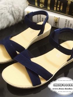 รองเท้าแตะรัดส้นแบบสายรัดเป็นยางยืด (สีน้ำเงิน)