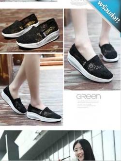รองเท้าผ้าใบผู้หญิงสีดำ เสริมส้น ผ้าลูกไม้ แบบสวม ระบายอากาศได้ดี สวมใส่สบาย นุ่มสบายเท้า แฟชั่นเกาหลี แฟชั่นพร้อมส่ง
