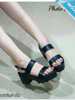 รองเท้าส้นตึกสีดำ เสริมส้นทำจากหนัง PU นิ่ม สวมใส่สบาย