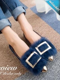 รองเท้าคัทชูส้นแบนสีกรม หัวแหลม แต่งด้วยขนสัตว์และแผ่นโลหะสีทอง สวมใส่สบาย เดินง่ายคล่องตัว แฟชั่นเกาหลี แฟชั่นพร้อมส่ง