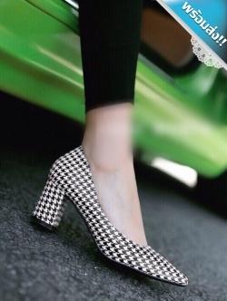 รองเท้าคัทชูส้นสูงสีดำ ส้นหนา ลายชิโนริ หัวแหลม ทรงทันสมัย แฟชั่นเกาหลี แฟชั่นพร้อมส่ง