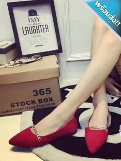 รองเท้าคัทชูส้นแบนสีแดง หนังสักราจ หัวแหลม แต่งสร้อยสีทอง เรียบง่าย ดูมีสไตล์ น่ารัก ทรงสุภาพ แฟชั่นเกาหลี แฟชั่นพร้อมส่ง