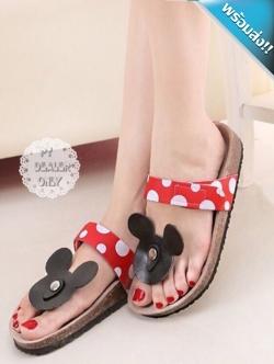 รองเท้าแตะผู้หญิงสีแดง หัวมิกกี้เม้าส์ แบบหนีบ สายคาดหลังเท้าสีแดง น่ารัก เหมาะกับวัยรุ่น แฟชั่นพร้อมส่ง
