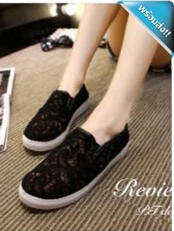 รองเท้าผ้าใบผู้หญิงสีดำ ซีทรู ลายลูกไม้ แบบสวม น่ารัก เก๋ไก๋ แฟชั่นเกาหลี แฟชั่นพร้อมส่ง