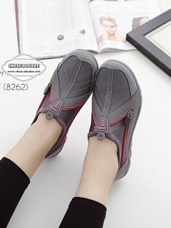 รองเท้าผ้าใบสีเทา รองเท้าเพื่อสุขภาพ ที่เห็นแล้วต้องเลิฟ พื้นยางอย่างดี สวมใส่ง่าย เดินนุ่มสบาย