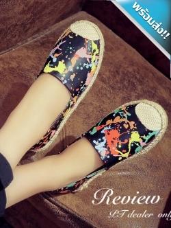 รองเท้าผ้าใบผู้หญิงสีดำ ลายสาดสี แบบสวม สีสันสดใส ถูกใจวัยรุ่น เย็บแต่งขอบด้วยเชือกสาน แฟชั่นเกาหลี แฟชั่นพร้อมส่ง