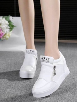 รองเท้าผ้าใบสีขาว หนังพียู แบบซิปสวมใส่ง่าย สินค้าคัดคุณภาพ พื้นยางกันลื่น ความสูง1.5นิ้ว