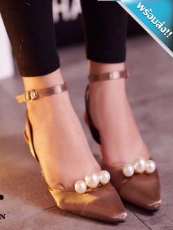 รองเท้าส้นสูงสีน้ำตาล ส้นเข็ม หัวแหลม ประดับมุก มีสายรัดข้อเท้า เข็มขัดปรับระดับได้ กระชับเท้า ใส่แล้วเท้าเรียว แฟชั่นเกาหลี แฟชั่นพร้อมส่ง