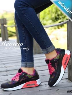 รองเท้าผ้าใบผู้หญิงสีดำ สีเรนโบ แบบเชือกผูก พื้นยาง หนานุ่ม รองรับน้ำหนักได้ดี สวมใส่สบายเท้า แฟชั่นพร้อมส่ง