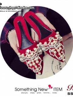 รองเท้าแตะเปิดส้นหัวแหลมประดับมุกแกมเพชร (สีแดง)