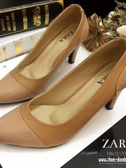 รองเท้าส้นสูงสีแทน รองเท้าสไตล์งานซ่าร่า มาพร้อมพื้นตีแบรนด์ ส้นสูง3นิ้ว ทำจากหนังนิ่ม