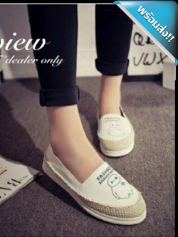 รองเท้าผ้าใบผู้หญิงสีขาว หนังPUสกรีนลาย หัวเย็บด้วยเชือกป่านถัก เก๋ไก๋ เหมาะกับวัยรุ่น แฟชั่นเกาหลี แฟชั่นพร้อมส่ง