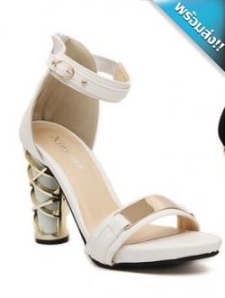 รองเท้าส้นสูงสีขาว รัดส้น ส้นหนาคาดทอง สายคาดแต่งแผ่นโลหะสีทอง มีสายรัดข้อเท้า เข็มขัดปรับระดับได้ ทรงทันสมัย แฟชั่นเกาหลี แฟชั่นพร้อมส่ง