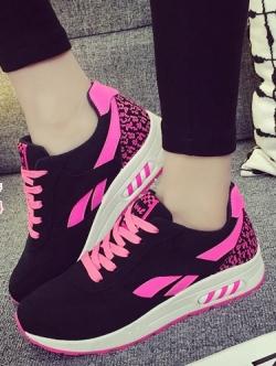 รองเท้าผ้าใบแฟชั่นสีชมพู เสริมส้น สไตล์Asics ทรงสปอร์ต สวยเพรียวสวมใส่กระชับ วัสดุผ้าใบสลับหนังPU พิมพ์ลายสีสัน แฟชั่นเกาหลี แฟชั่นพร้อมส่ง