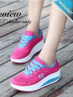 รองเท้าผ้าใบผู้หญิงสีบานเย็น เสริมส้น ผ้าตาข่าย แบบเชือกผูก ระบายอากาศได้ดี สวมใส่สบายเท้า รับน้ำหนักได้ดี แฟชั่นเกาหลี แฟชั่นพร้อมส่ง