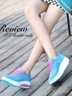 รองเท้าผ้าใบผู้หญิงสีฟ้า เสริมส้น ผ้าตาข่าย แบบเชือกผูก ระบายอากาศได้ดี สวมใส่สบายเท้า รับน้ำหนักได้ดี แฟชั่นเกาหลี แฟชั่นพร้อมส่ง