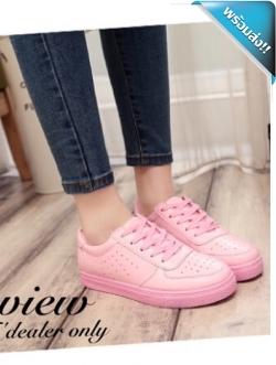 รองเท้าผ้าใบผู้หญิงสีชมพู หนังเจาะ แบบเชือกผูก คลาสสิค ทรงฮิตตลอดกาล ระบายอาศได้ดี แฟชั่นพร้อมส่ง
