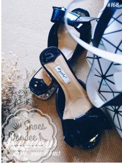 รองเท้าแตะสีดำ แบบสวม หนังแก้ว ส้นเพชรเสริมส้น1นิ้ว ใส่ลำลองเก๋ๆ