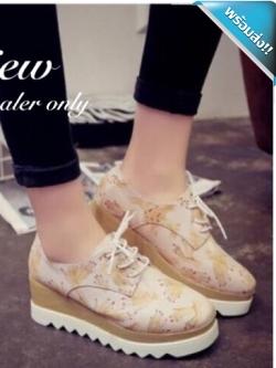 รองเท้าผ้าใบส้นเตารีดสีครีม ลายมือ หัวกลม แบบเชือกผูก แนววินเทจ น่ารัก เหมาะกับวัยรุ่น แฟชั่นเกาหลี