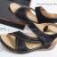 รองเท้าแตะรัดส้น หนังเจาะ เสริมส้น (สีดำ ) thumbnail 5