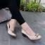 รองเท้าคัทชูส้นเตารีด หนังซาตินปักลาย (สีกากี ) thumbnail 3