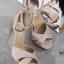 รองเท้าส้นสูง วัสดุผ้าสักราด (สีครีม )