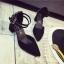 รองเท้าคัทชูส้นสูง รัดข้อเท้า แต่งหมุด (สีดำ ) thumbnail 7