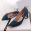 รองเท้าคัทชูส้นสูง หัวแหลม แต่งขอบทอง (สีฟ้า ) thumbnail 2