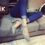 รองเท้าคัทชูส้นสูง รัดข้อเท้า แต่งหมุด (สีเทา ) thumbnail 5