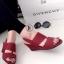 รองเท้าส้นเตารีดแบบรัดส้น งานหนัง (สีแดง ) thumbnail 1