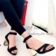 รองเท้าส้นสูง รัดส้น ส้นตันสีทอง (สีดำ )