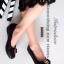 รองเท้าคัทชูส้นเตี้ย หัวตัด บุนวม (สีดำ )