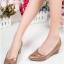 รองเท้าคัทชูส้นเตารีด หัวแหลม หนังPUนิ่ม (สีน้ำตาล )