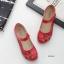 รองเท้าคัทชูเพื่อสุขภาพ หัวกลม แต่งดอกไม้ (สีแดง) thumbnail 3