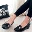 รองเท้าคัทชูเสริมส้น หัวตัด (สีดำ )