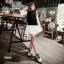 รองเท้าบูทสไตล์เท่ห์ แนววินเทจ (สีขาว) thumbnail 4