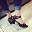 รองเท้าคัทชูส้นสูง รัดข้อเท้า แต่งหมุด (สีดำ ) thumbnail 3