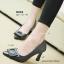 รองเท้าคัทชูส้นสูง หัวแหลม แต่งคริสตัลใส (สีดำ) thumbnail 8