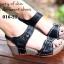 รองเท้าแตะรัดส้น สายคาดหน้าแต่งเข็มขัด (สีดำ) thumbnail 5