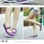 รองเท้าผ้าใบแฟชั่น ผ้ายืดสาน พื้นหักงอได้ (สีม่วง ) thumbnail 3