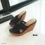 รองเท้าส้นเตารีด เปิดส้น แต่งหน้าไขว้ (สีดำ) thumbnail 2