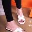 รองเท้าแตะส้นเตี้ย สไตล์H (สีขาว )