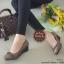 รองเท้าคัทชูส้นเตารีด หัวตัด แต่งอะไหล่สีรมควัน (สีกากี ) thumbnail 2